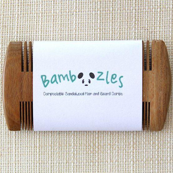 Bamboozles sandalwood beard comb in display packaging